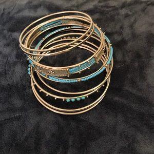 Jewelry - Silver & Turquoise Bangle Set 9 Bangles NWOT